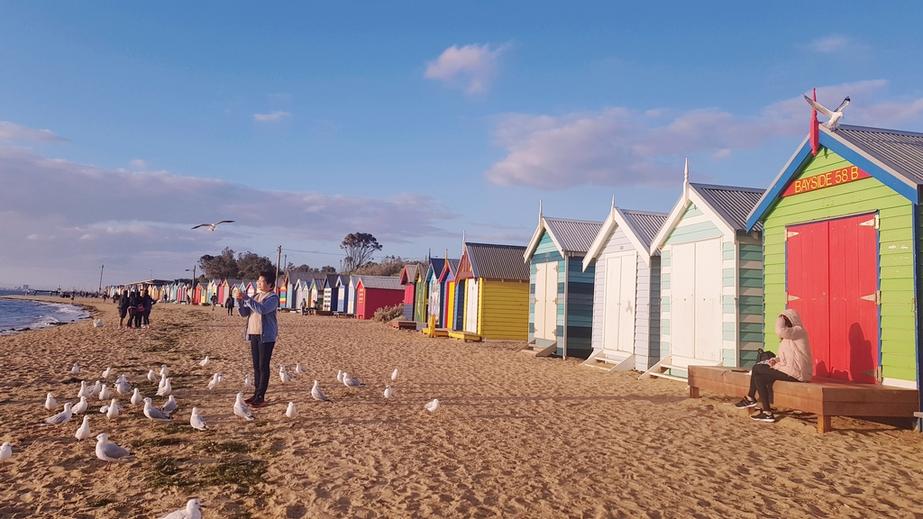 20190213_193830.jpg - 【澳洲.墨爾本】2019免費景點。Brighton Beach Bath Boxes 海邊彩色小屋