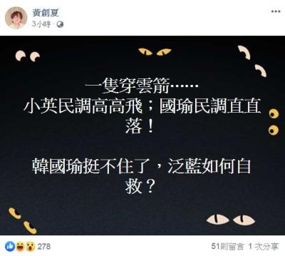 「黃創夏大嘆」韓國瑜民調直直落!挺不住了!