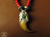 NAVAJO銀飾:雙葉熊爪鹿皮項鍊-2.jpg
