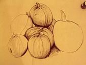 畫作~♡:萬聖節前一節課所畫的南瓜