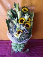 黃百合向日葵花束設計 - 花束