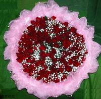 99朵紅玫瑰滿天星珠串花束設計 - 情人節花束