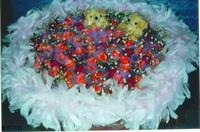 粉玫紫鬱金香小熊花束設計 - 情人節花束