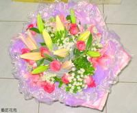 粉百合紫天王玫蕾絲花樹蘭花束設計 - 花束
