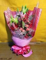 百合腎藥蘭粉玫瑰花束設計 - 花束