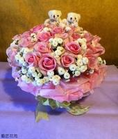 鐵塔尼玫瑰小熊法國小白花禮設計 - 花禮設計