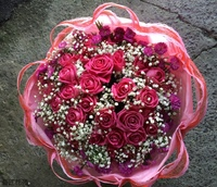 33朵紫天王玫瑰紫孔雀花束設計 - 情人節花束