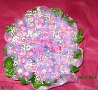66朵水精靈玫瑰滿天星茉莉花束設計 - 情人節花束