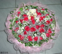 胭脂紅玫深山櫻滿天星長春藤花束設計 - 情人節花束