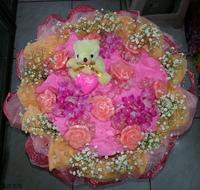 小熊玫瑰精油皂滿天星花束設計 - 手工玫瑰精油皂