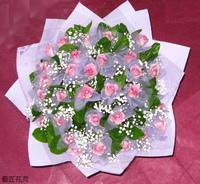 30朵水精靈玫瑰滿天星茉莉花束設計 - 情人節花束