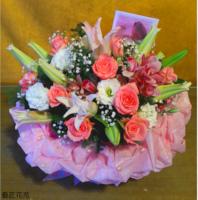 百合粉玫瑰粉東亞蘭白桔梗花禮設計 - 花禮設計