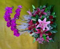 紅蝴蝶蘭百合雪木玫瑰盆花設計 - 盆花