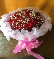 99朵桃色玫瑰滿天星花束設計 - 情人節花束