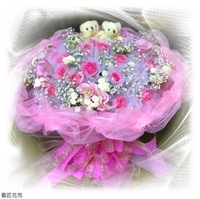 紫天王玫瑰粉桔梗法國小白小熊花束設計 - 花束
