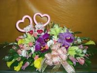 百合嘉德莉亞蘭粉火鶴海芋白桔梗愛心小熊盆花設計 - 婚禮盆花