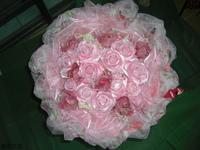 粉玫瑰精油手工皂人造花花束 - 手工玫瑰精油皂