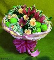 百合玫瑰唐棉滿天星花束設計 - 花束