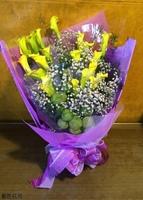 黃海芋滿天星花束紫色系設計 - 花束