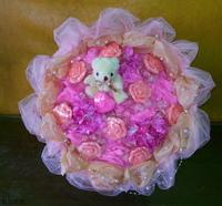 小熊玫瑰精油皂愛心珠串花束設計 - 手工玫瑰精油皂