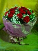 紅玫瑰滿天星花束設計 - 情人節花束