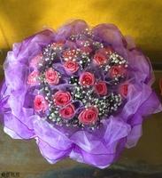 21朵紫天王玫瑰滿天星紫色系花束設計 - 情人節花束