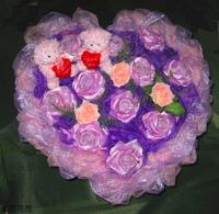 紫玫瑰精油皂人造花小熊花束 - 手工玫瑰精油皂