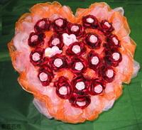 粉玫瑰精油皂愛心型花束 - 手工玫瑰精油皂