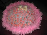 99朵粉玫珠串羽毛花束設計 - 情人節花束