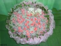 99朵粉玫蕾絲花小熊花束 - 情人節花束
