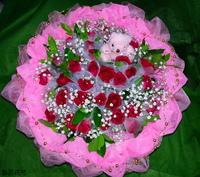 33朵東方之星玫瑰滿天星黃梔子葉花束設計 - 情人節花束