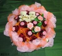 粉玫玫瑰精油皂人造花小熊花束 - 手工玫瑰精油皂