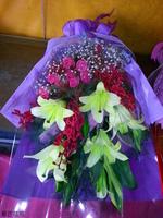 黃百合麝香蘭紫天王玫瑰花束設計 - 花束