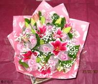 百合水精靈玫瑰滿天星茉莉花束設計 - 花束