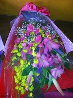 粉百合紫天王玫瑰文心蘭花束設計 - 花束