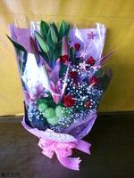 粉百合紅玫瑰唐棉星星裝飾品花束設計 - 花束
