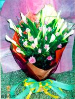 白海芋紫玫花束 - 花束
