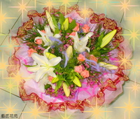 香水百合粉玫紅蠟梅花束 - 花束