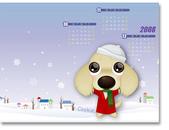 臘腸插畫商品:2008電子桌布季曆-冬